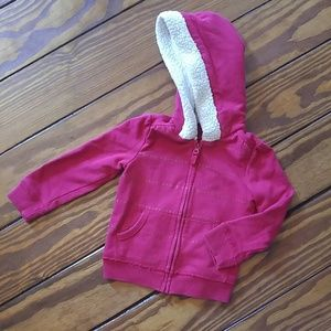 Sherpa lined hoodie sweatshirt stars sparkle red